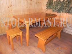 Комплект мебели для бани - стол, лавочки и табурет