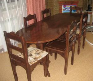 Стол обеденный и набор стульев со спинкой